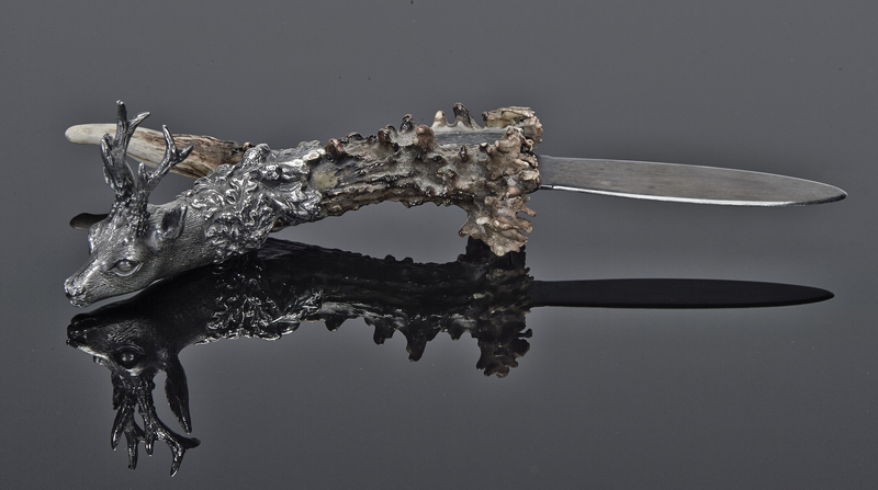Miracoli Stag letter opener sterling silver, antler, steel