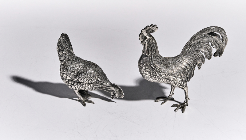 Mario Buccellati rooster & hen sterling silver
