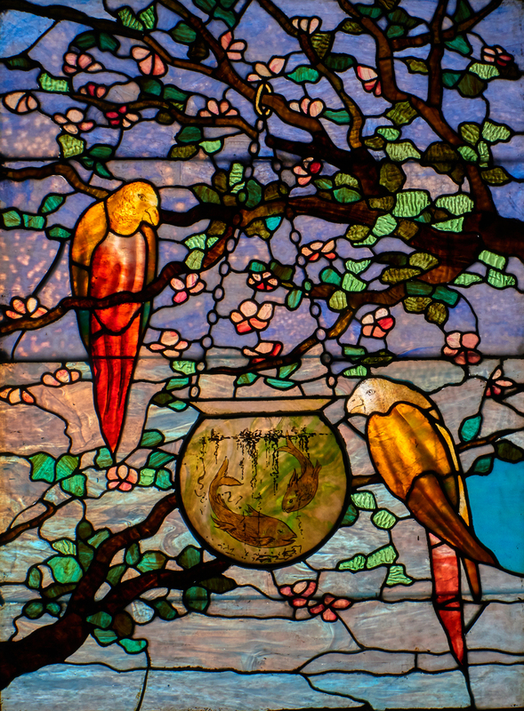 Style of Tiffany Studios Parakeets & Fishbowl window