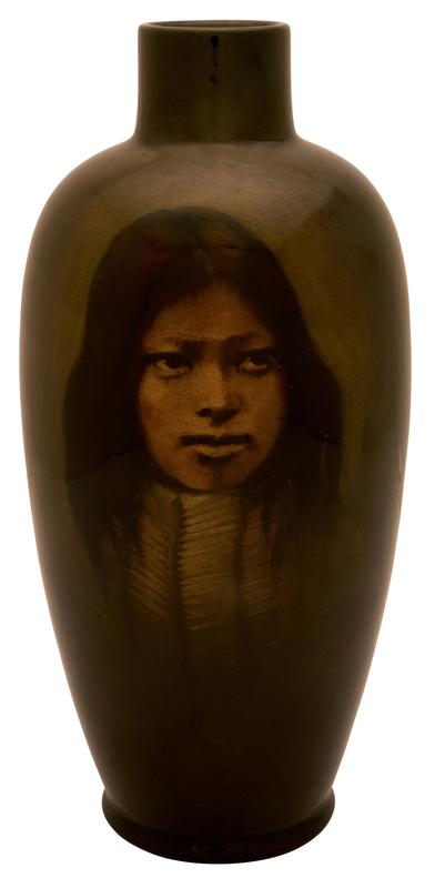 Rookwood Pottery by O.G. Reed Buffalo Hunter Shoshone vase