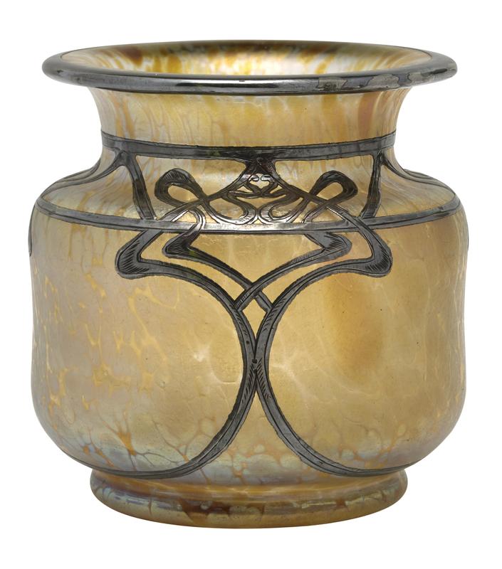 Loetz Papillon silver overlay vase