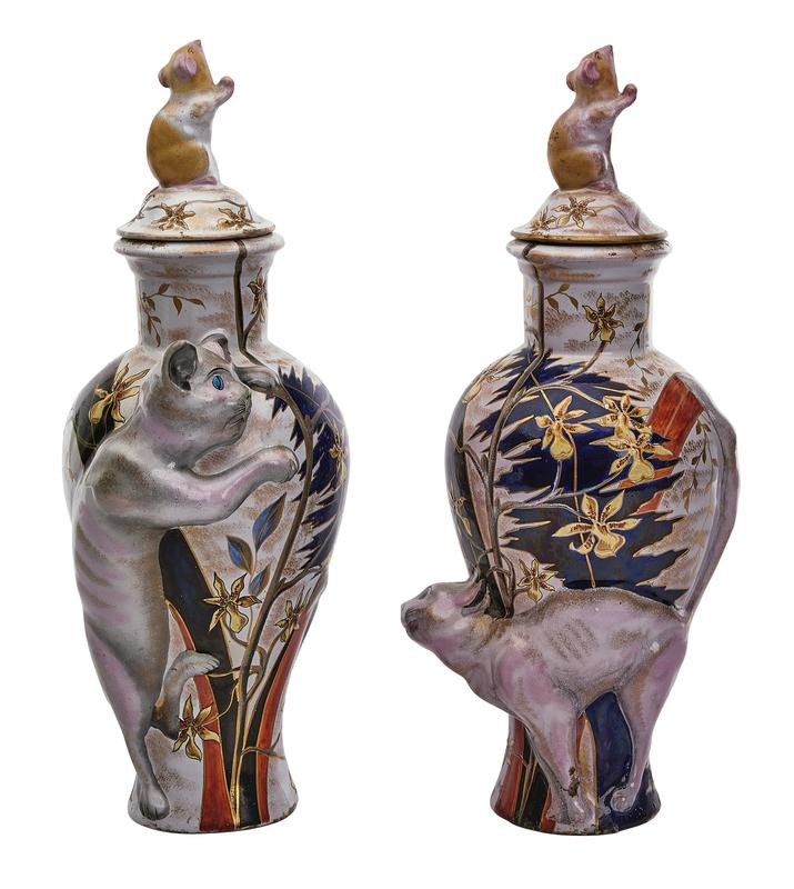 Galle vases, pair