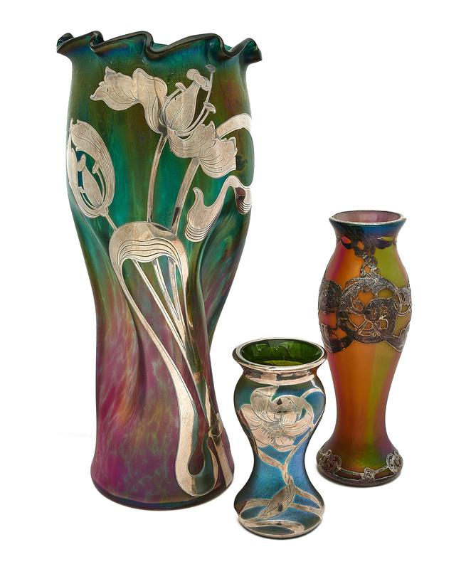 Loetz vase and two Austrian vases