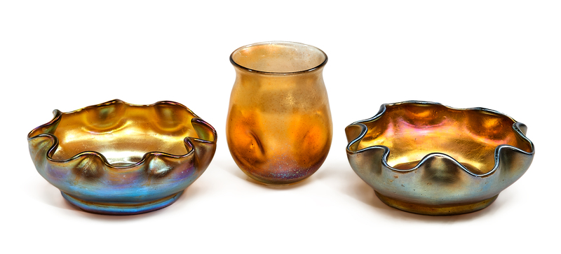 Louis Comfort Tiffany vase and bowls