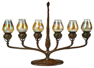 Tiffany Studios six-light candelabra