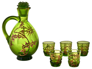 Galle decanter and cordial set