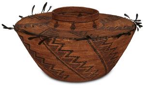 Yokuts Quail feather basket