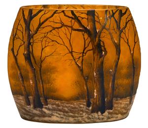 Daum Snow Scene flattened vase