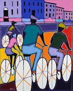 Nicholas Davis Four Black Cyclists in Harlem
