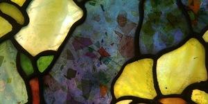 Tiffany Studios Young Lady in Magnolia Tree window