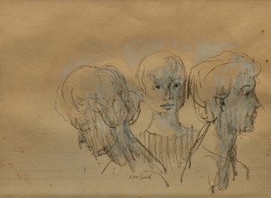 Hughie Lee Smith pencil drawing of two women and a boy