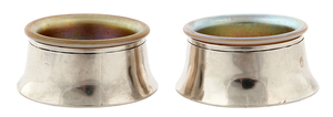 Potter Studio sterling silver salts with Steuben glass inserts, pair