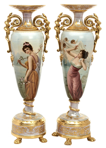 Royal Vienna vases, pair