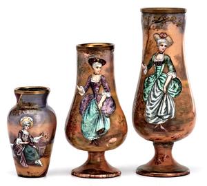 French enamel vases, group of three