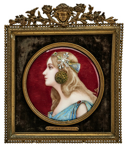 French enamel framed portrait plaque