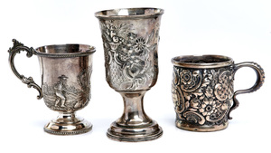 Sterling and coin silver vessels, group of three