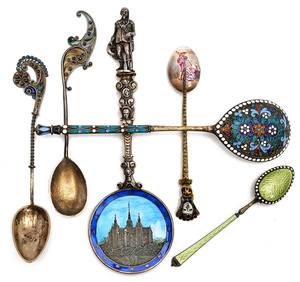 Silver and enameled spoons, group of six