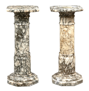 Marble pedestals, group of two