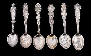 Sterling silver souvenir spoons, group of six