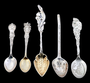 Sterling silver souvenir spoons, group of five