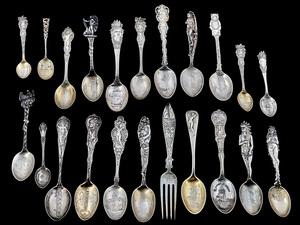 Sterling silver souvenir spoons & fork, group of twenty two