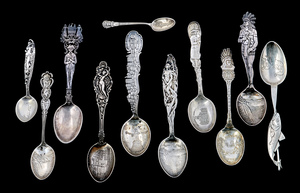 Sterling silver souvenir spoons, group of eleven