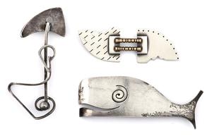 Sterling silver pins, three