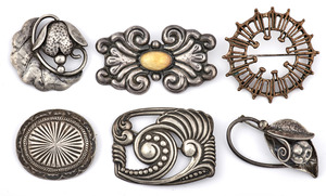 Assorted pins, six