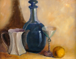 Alice Taylor Gafford Still Life With Bottle of Wine, Pitcher, Glass, and Lemon