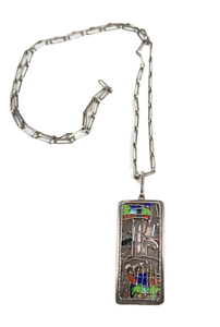 Mid century modern enamel and sterling necklace