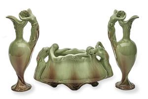 Delphin Massier vases, group of three