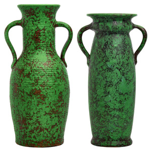 Weller Pottery Coppertone vases, group of two