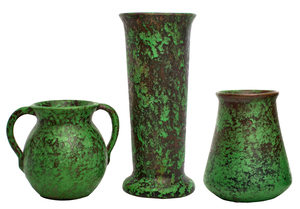 Weller Pottery Coppertone vases, group of three