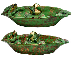 Weller Pottery Coppertone bowls with flower frog inserts