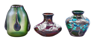 Loetz vases, group of three