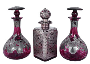 American Art Nouveau decanters, group of three