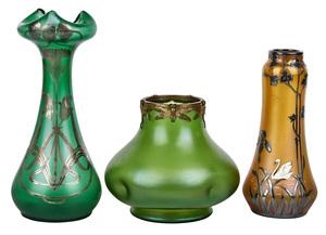 Austrian Art Nouveau Glass vases, group of three