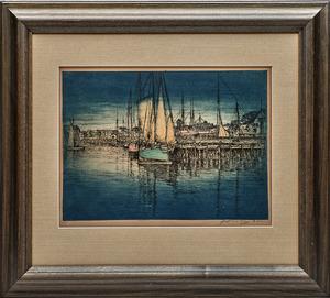 E.T. Hurley (American, 1869-1950) Harbor Scene etching