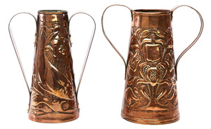 Newlyn School Arts & Crafts double-handled vases, two