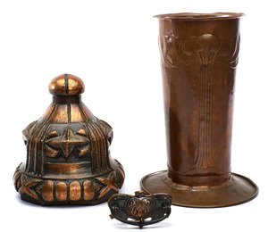 English Arts & Crafts vase with a hand-hammered copper drawer pull and architectural finial