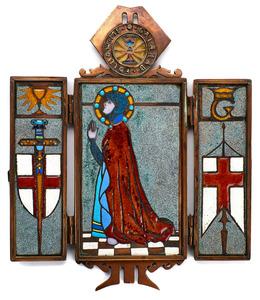 Scottish Arts & Crafts Follow Me O Galahad triptych