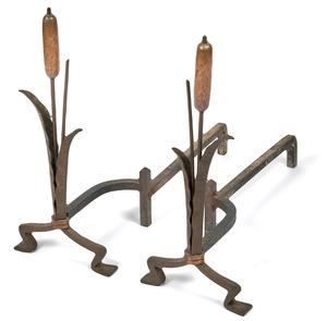 Rose Iron Works cattail andirons, pair
