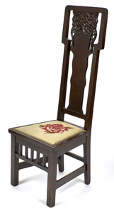 Arts & Crafts chair with needlework seat