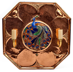 English Arts & Crafts Peacock wall sconce