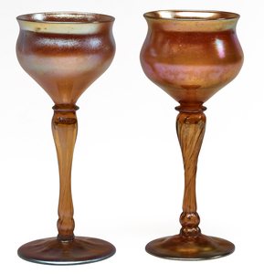Louis Comfort Tiffany wine glasses, two
