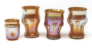 Louis Comfort Tiffany cordials and under plates, group of six