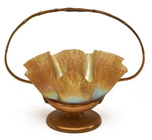 Louis Comfort Tiffany ruffled bowl in basket