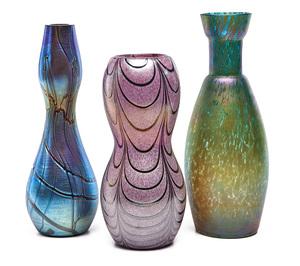 Austrian vases featuring Posinger, attributed