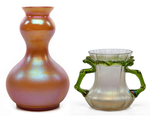 Loetz and Kralik vases