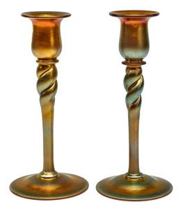 Steuben by Frederick Carder candlesticks